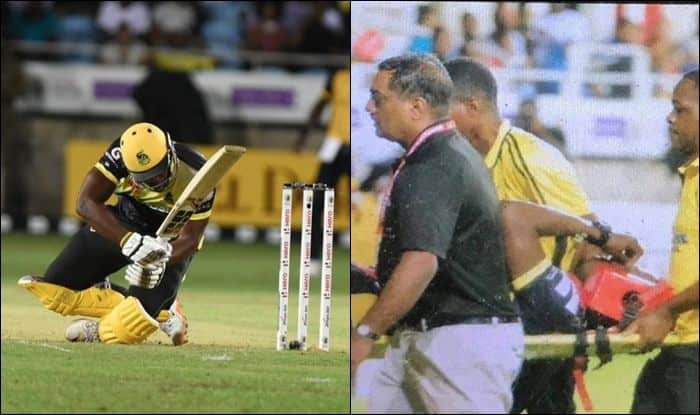 Andre Russell, Carribean Premier League 2019, CPL 2019, jamaica Tallawahs, St Lucia Zouks, Andre Russell hit on helmet, Russell hit on head, Russell hit on head during CPL match, Russell hit on head during CPL match between Jamaica Tallawahs and St Lucia Zouks, Russell hit on head and taken out of the ground on stretcher, Russell taken out of the ground on stretcher, Jamaica Tallawahs vs St Lucia Zouks CPL 2019, Phil Hughes, Phil Hughes hit on the head