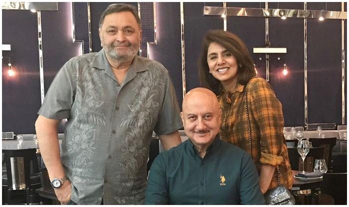 Anupam Kher with Neetu Kapoor and Rishi Kapoor in New York