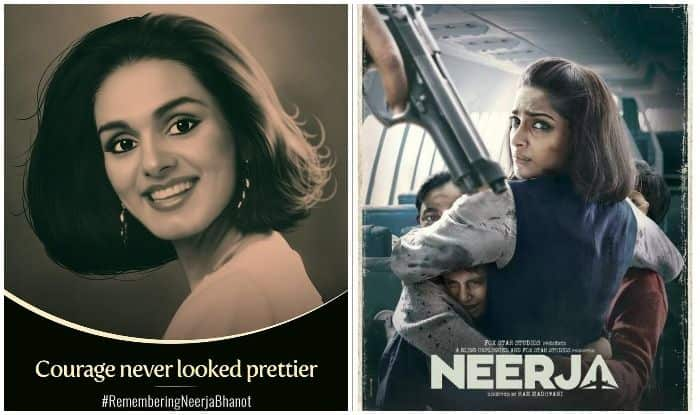 The real Neerja Bhanot and Sonam Kapoor in the Neerja poster