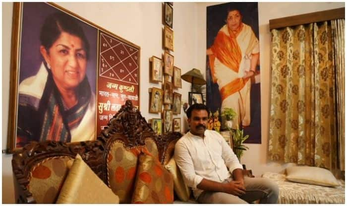 Gaurav Sharma at his home flanked by his idol Lata Mangeshkar's portraits on all sides