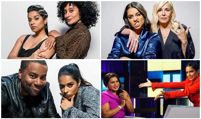 Lilly Singh on on NBC's talk show, A Little Late With Lilly Singh, with Mindy Kaling, Kenan Thompson, Chelsea Handler and Tracee Ellis Ross