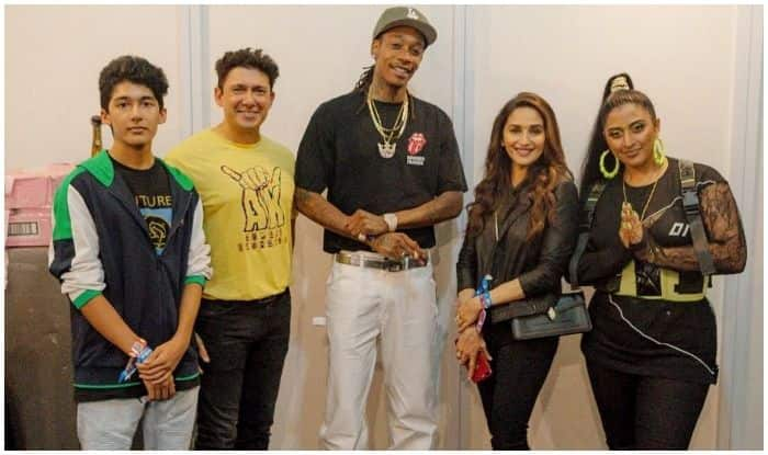 Madhuri Dixit and her family with Wiz Khalifa and rapper Rajakumari at Sunburn