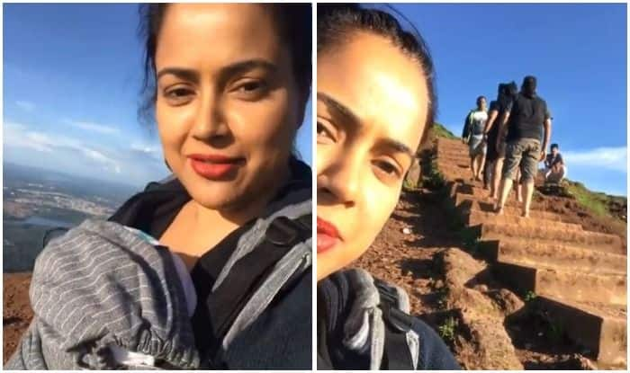 Sameera Reddy climbs the tallest peak of Karnataka with baby Nyra strapped on