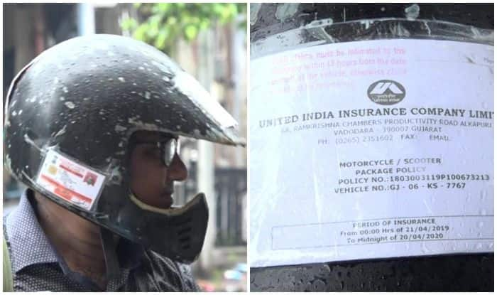 Man Pastes Driving License, RC, Other Documents on Helmet to Avoid Penalty Under New Traffic Laws