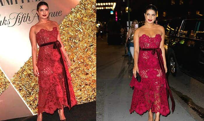 Priyanka Chopra in Red Lace Gown at Vanity Fair Party is What You Call Style With Elegance