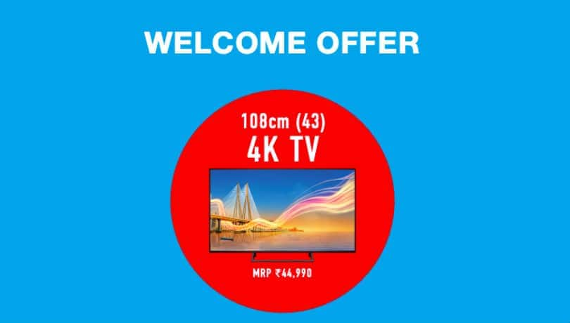 Reliance JioFiber Welcome Offer with free HD or 4K TV announced: Plan price, free data, speed and more