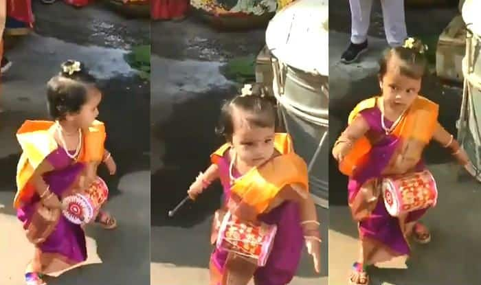 Little Girl Playing Drums And Dancing to The Beats Dressed as Marathi Mulgi Make Twitter go All Cute – Viral Video