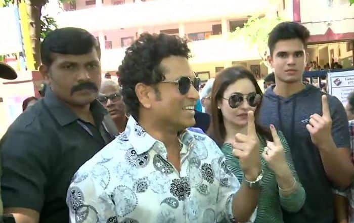 Maharashtra Polls: Sachin Tendulkar Casts His Vote With Wife Anjali, Son Arjun