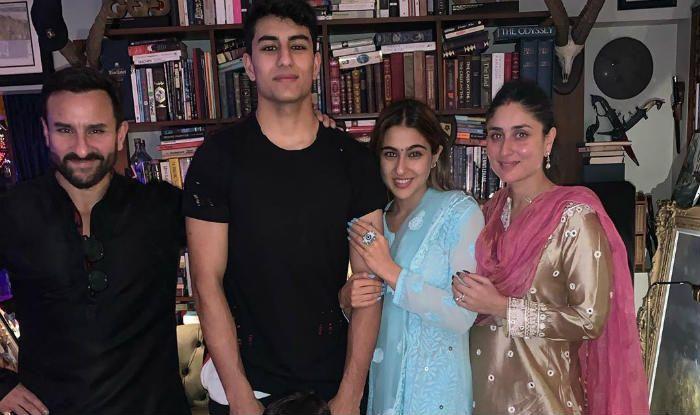 Sara Ali Khan with Saif, Kareena, Ibrahim and Taimur
