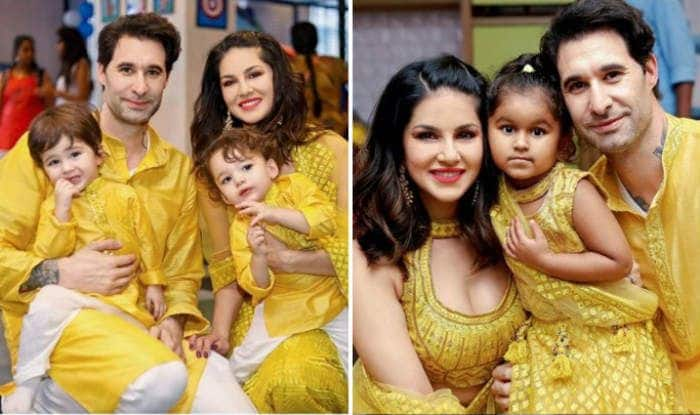 Sunny Leone with hubby Daniel Weber and their children