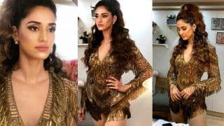 Disha Patani Looks Hot Beyond Words as She Wears a Golden Costume to Perform at Indian Super League -Viral Photos
