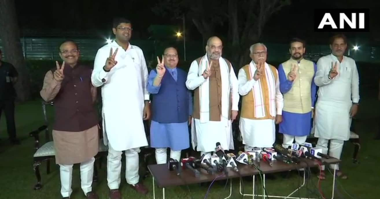 BJP and JJP Join Hands in Haryana, Manohar Lal Khattar to Stake Claim to Form Govt Today