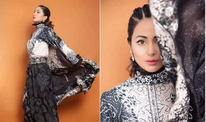 Hina Khan Slays in Festive Ready in This Sexy Fusion Monochrome Outfit, Check Pictures