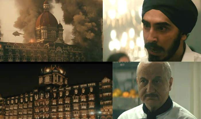 Dev Patel and Anupam Kher in stills from Hotel Mumbai