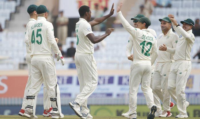 kagiso rabada celebrates wicket india test