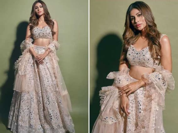 Mouni Roy Rocks in A Floral Peach Lehenga For Promotions of 'Made in China'