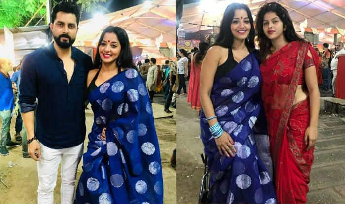 Monalisa Wears Blue Saree With Black Halter Neck Blouse as She Visits Durga Puja Pandal With Hubby Vikrant Singh Rajpoot