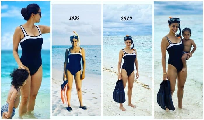 Gul Panag goes snorkelling in the Maldives with son Nihaal
