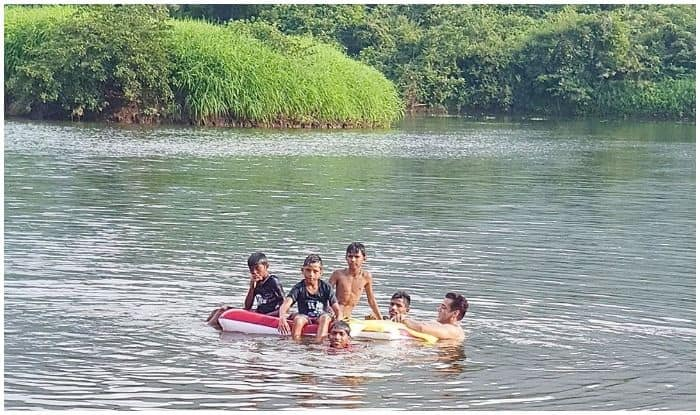 Salman Khan swimming with kids