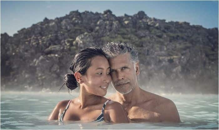 Ankita Konwar and Milind Soman at Iceland's Blue Lagoon