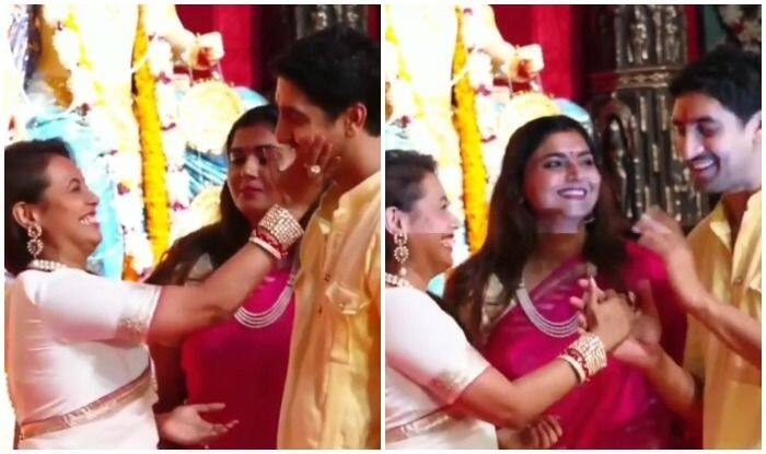 Rani Mukerji and Ayan Mukerji at Durga Puja