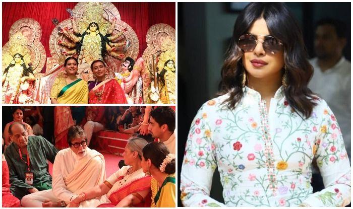 Rani Mukerji and Ayan Mukerji play hosts to Priyanka Chopra, Kajol, Amitabh and Jaya Bachchan at their Durga Puja pandal