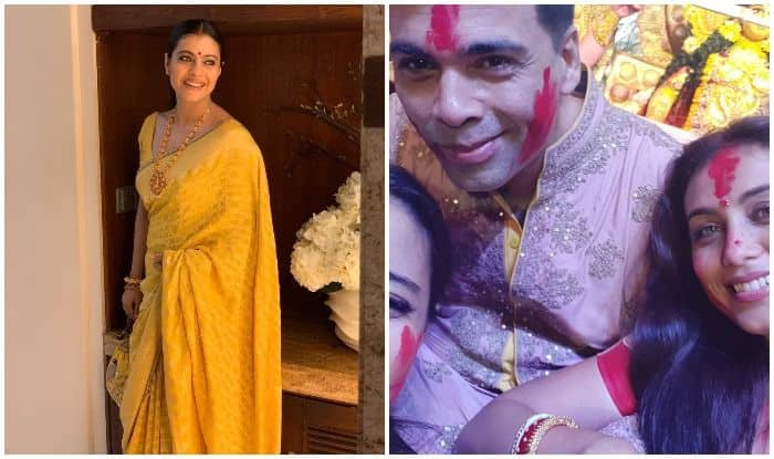 Kajol celebrates Dussehra with Rani Mukerji and Karan Johar