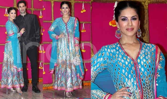 Sunny Leone Looks Mesmerizing in Blue Anarkali at T-Series' Diwali Party – Check Viral Photos