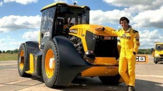 Watch   Man Rides JCB Tractor At 217 Km/h, Sets New Guinness World Record