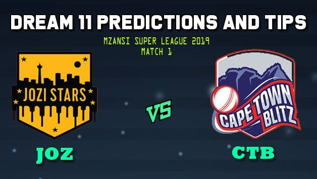 Jozi Stars vs Cape Town Blitz Dream11 Team Prediction Mzansi Super League: Captain And Vice-Captain, Fantasy Cricket Tips JOZ vs CTB 1st ODI Match at New Wanderers Stadium, Johannesburg 9.00 PM IST