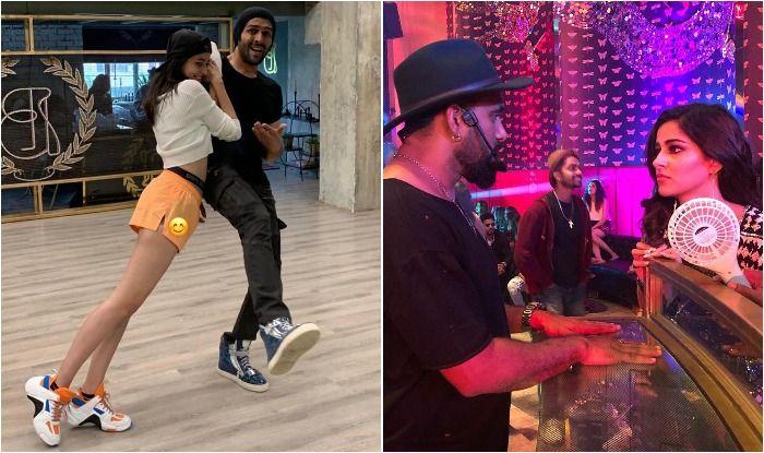 Pati Patni Aur Woh stars Ananya Panday and Kartik Aaryan and choreographer Bosco Martis as they rehearse for Dheeme Dheeme