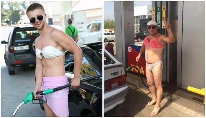 Russian Petrol Pump Offered Free Fuel to People Wearing Bikini and Men Showed Up in Two-Pieces