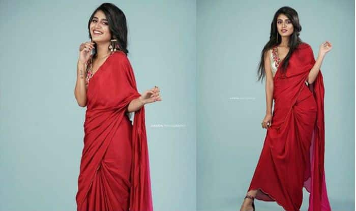 Priya Prakash Varrier Rocks a Chic Ethnic Look in a Hot Red Saree- See Pics