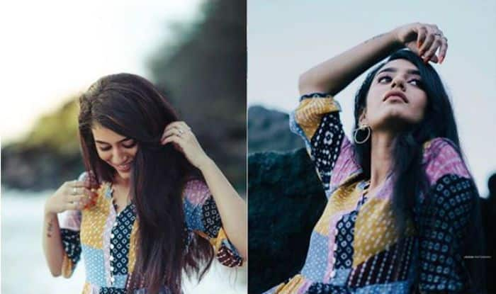 Priya Prakash Varrier in a Multi-colour Dress Poses Sensuously at Beachside, Check Viral Pics