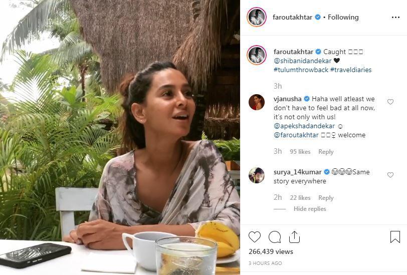 VJ Anusha Dandekar's comment on Farhan Akhtar's Instagram post