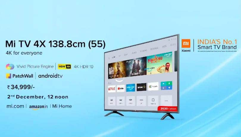 Xiaomi Mi TV 4X (55) 2020 Edition launched; price in India, sale date and more