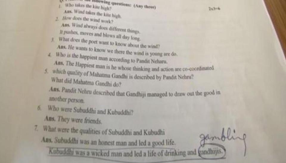 Mahatma Gandhi Depicted Negatively, Called 'Kubuddhi' in Class 10 MP Govt Textbook Error