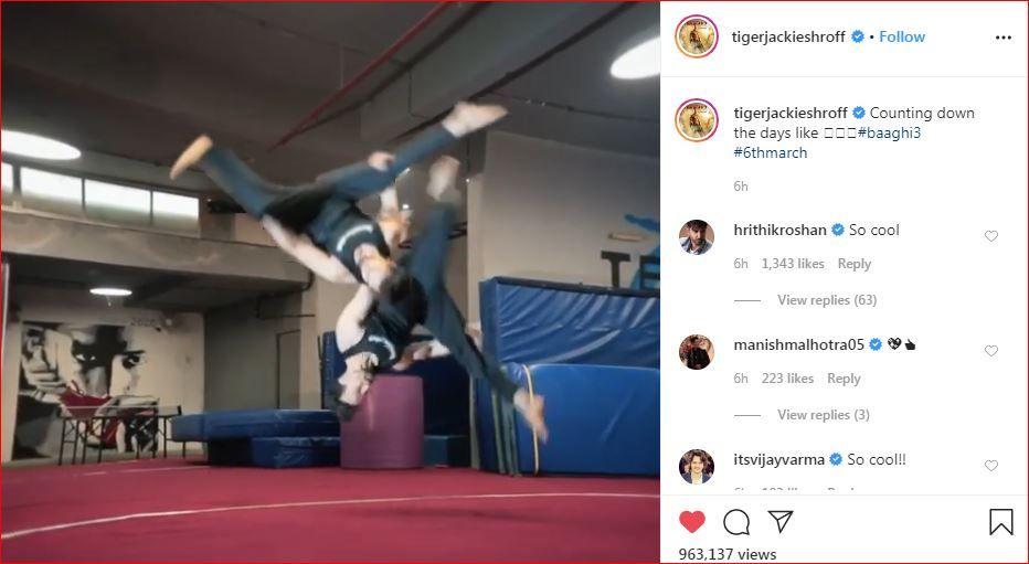 Hrithik Roshan's comment on Tiger Shroff's Instagram post