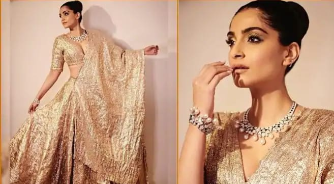 Sonam Kapoor Ahuja Takes Internet by Storm With Sultry Pictures in Molten Gold-Sparkling Silver Lehenga