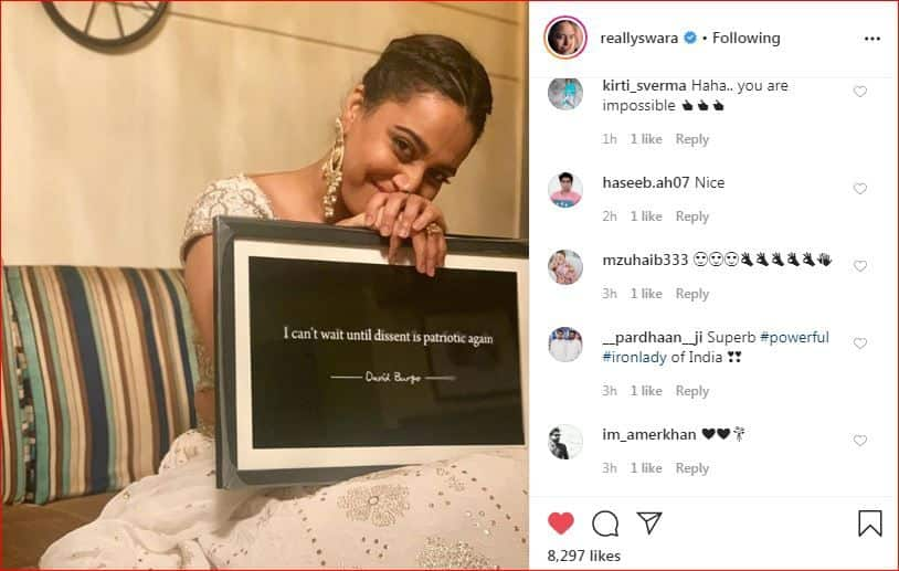 Compliments on Swara Bhasker's post