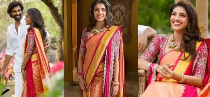 Rana Daggubati's Fiancee Miheeka Bajaj's Roka Look Decoded: Silk Saree With Wine Blouse And Dupatta by Jayanti Reddy Label