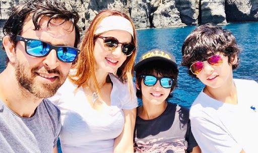 Hrithik Roshan, Sussanne Khan, Hreehan, dan Hridaan Roshan