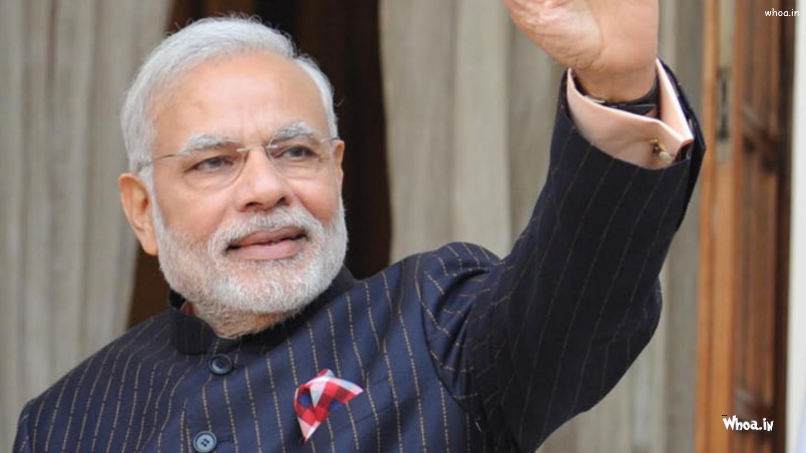Indian Prime Minister Narendra Modi Black Suit HD Wallpaper
