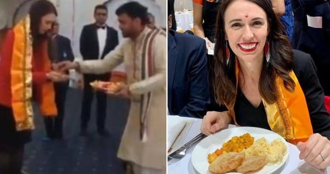New Zealand PM Jacinda Ardern Visits Radha Krishna Temple in Auckland, Relishes 'Chhole-Puri' | Watch