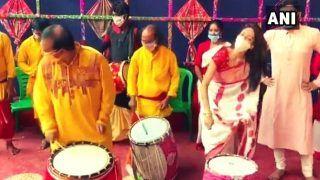 TMC MP Nusrat Jahan Plays Dhak, Dances on Durga Ashtami | Watch Video