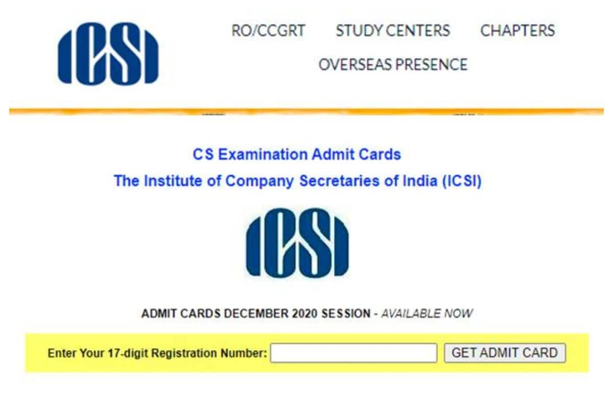 ICSI CS Admit Card 2020 Released at icsi.edu For Executive and Professional Courses  Check How To Download