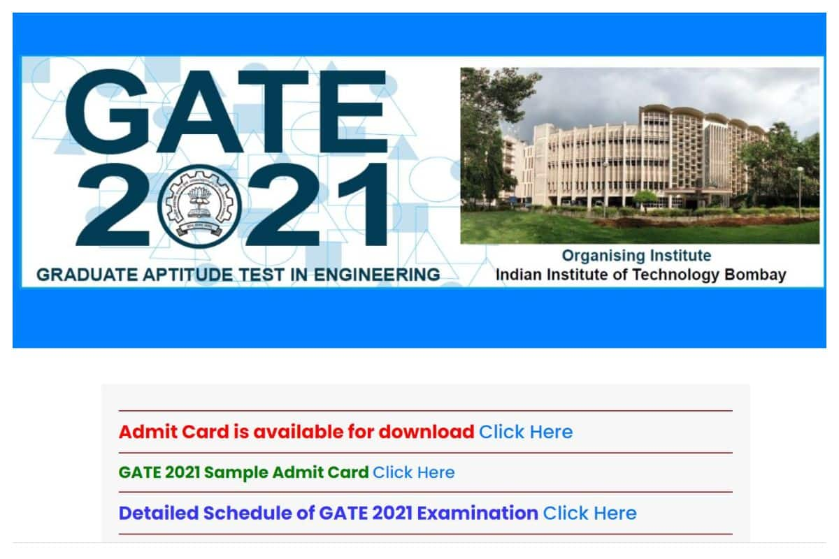 GATE Admit Card 2021 Released At gate.iitb.ac.in, Check Steps To Download Hall Tickets Here