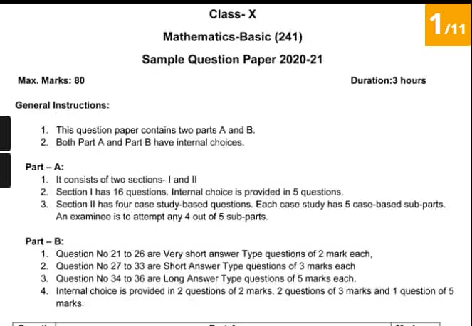 CBSE Board Exam 2021: Download Class 10 Maths Sample Paper Online