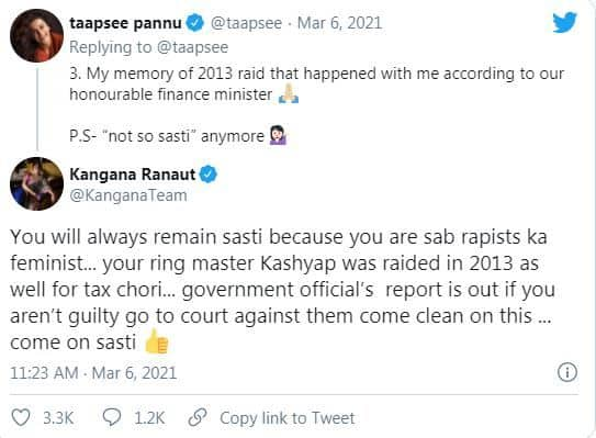 Kangana takes dig at taapsee over tax invasion case