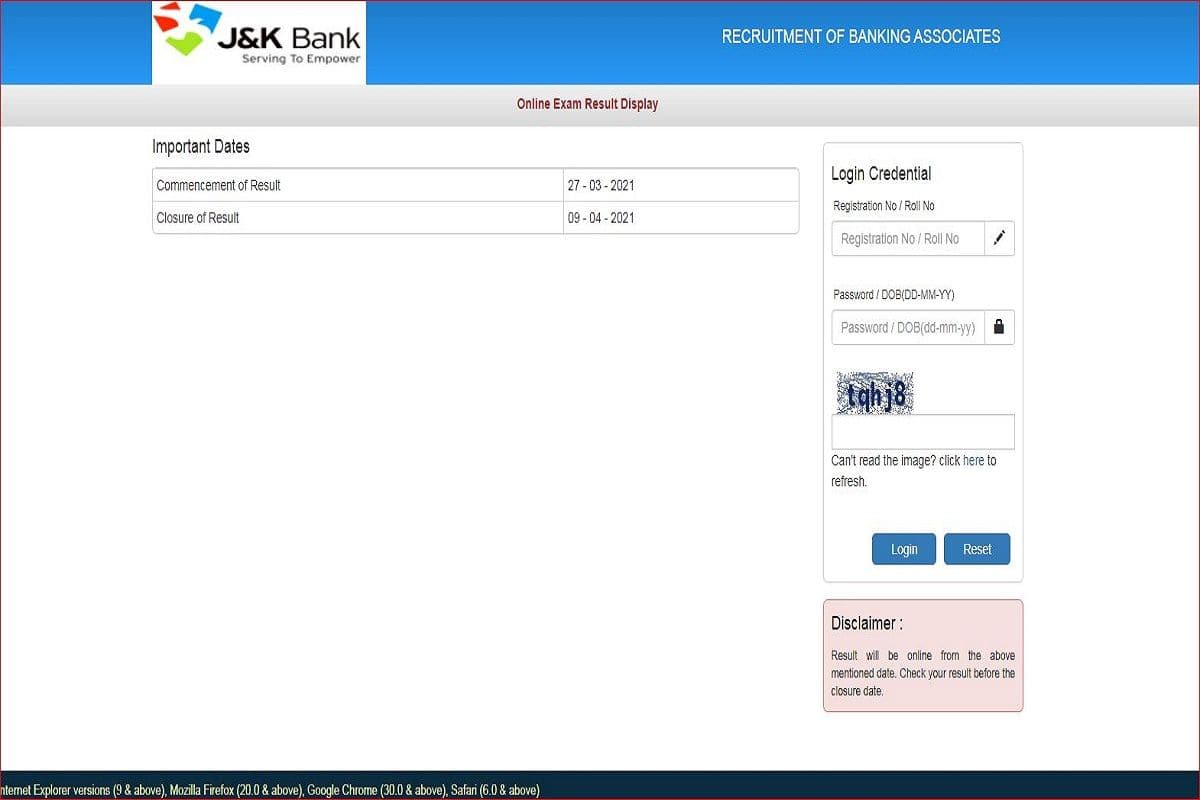 J&K Bank Banking Associate Result Announced at jkbank.com